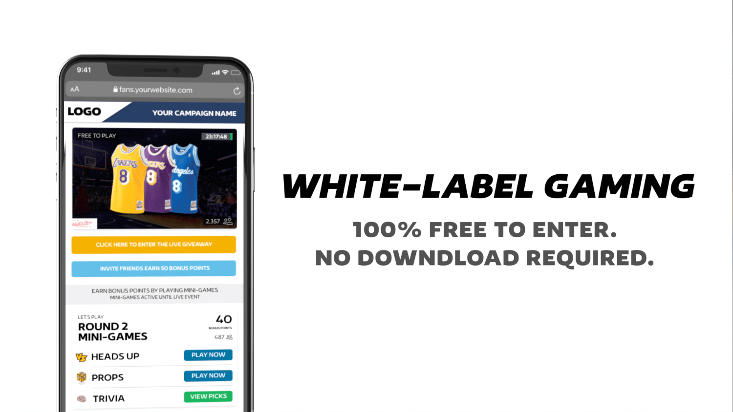 White label fan engagement gaming